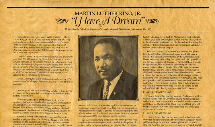 Have A Dream - Martin Luther King Jr. Historical Document