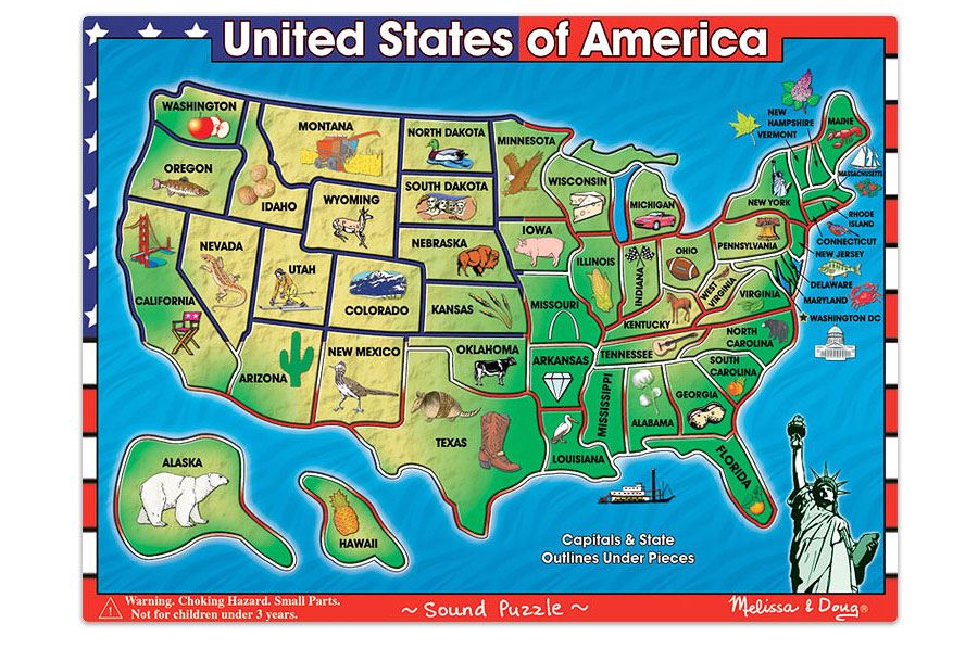 Map Of The United States Puzzle Printable Usa Map Sound Puzzle