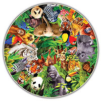 Round Table 500 Piece Puzzle - Wild Animals