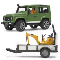 Land Rover Defender with Trailer JCB Micro Excavator and Worker