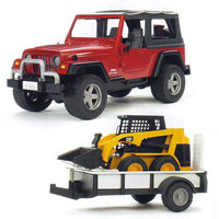Jeep Wrangler with Tow Trailer & 02435 Skid Steer Loader