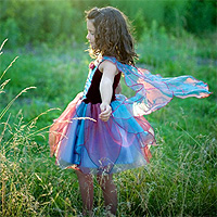 Fairy Blossom Dress with Wings - Blue/Magenta - Medium