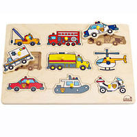 Educo Emergency Vehicles Peg Puzzle