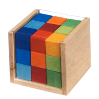Colored Cubes in Box - 27 pc