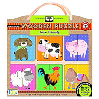 Green Start Wooden Puzzle - Farm Friends
