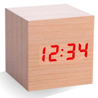 Alarm Clock Wood Cube - Natural