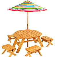 Octagon Table Set & 4 Stools with Striped Umbrella
