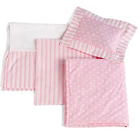 Single Bed Pink Stripe Linens