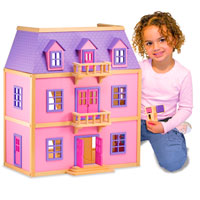 Multi-Level Wooden Dollhouse