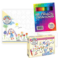 2 Puzzles with 18 Pencil Crayons