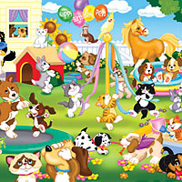 Pet Party Floor Puzzle - 24 pc