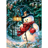 Enchanted Christmas Snowman Glitter Puzzle - 500 pc