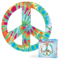 Puzzle Shapes - Peace Sign Tie Dye - 500 pc