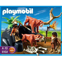 Playmobil Stone Age - Saber-Toothed Cat with Cavemen