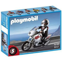Playmobil Collectible Motorcycles - Gray Motorcycle with Rider