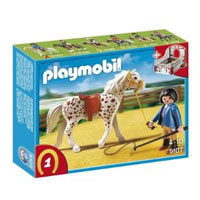 Playmobil Collectible Horses - Knabstrupper Horse with Trainer and Stable