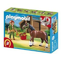 Playmobil Collectible Horses - Shire Horse with Groomer and Stable
