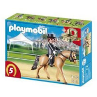 Playmobil Collectible Horses - German Sport Horse with Dressage Rider and Stable
