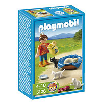 Playmobil Farm - Girl with Cats and Kitten