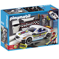 Playmobil Car Repair Shop and Race Car with Headlights