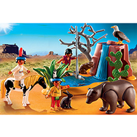 Playmobil Western - Native American Children with Bear Cave