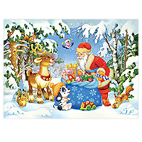 Santa and His Pack Puzzle - 100 XXL pc