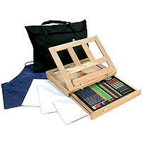 Drawing Art Set + Easel and Storage Bag - 46 pieces