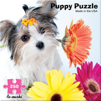Puppy with Daisies 250 Piece Puzzle