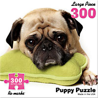 Pug on a Pillow 300 Large Piece Puzzle