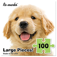 Happy Golden Retriever Puppy Large Piece Puzzle - 100 pc