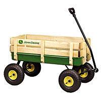 36 inch John Deere Steel Wagon with Wooden Stake Sides