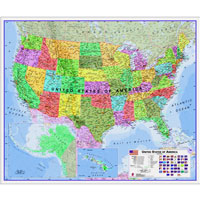 USA Laminated Wall Map