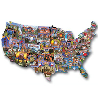 USA Shaped Puzzle - Road Trip America