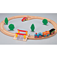 Nuchi - Oval Train Set with Crossing Barrier