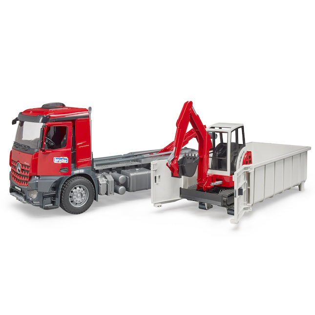 df02fbd3adae MB Arocs Truck with Roll-Off Container & Mini Excavator
