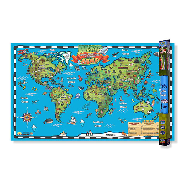 Kid\'s World Map Wall Chart with Interactive Map