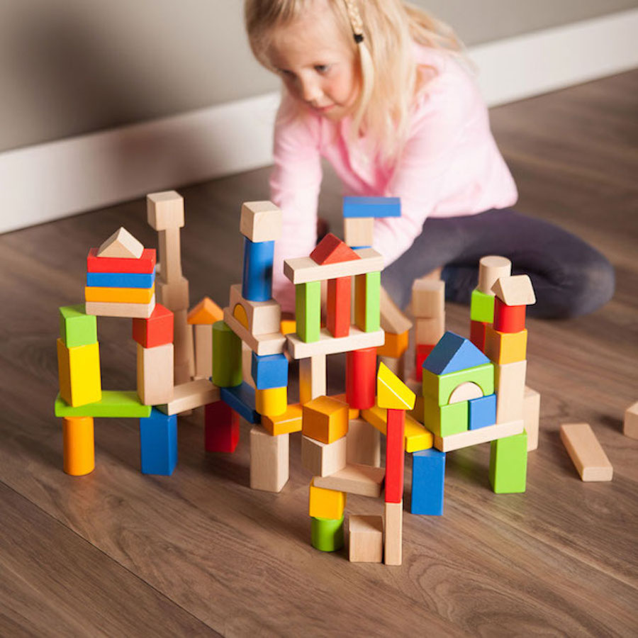 f15be3317d6 TimberBlocks - 100 Piece Wooden Block Set - Best for Ages 1 to 3