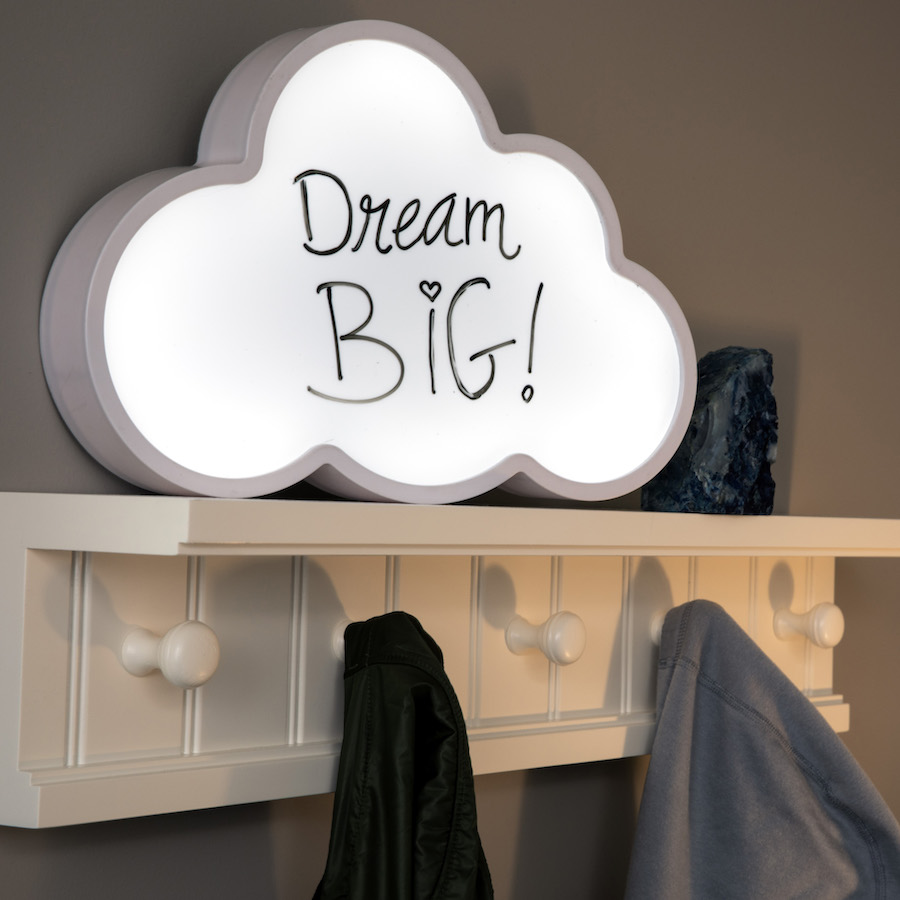 Write It & Light It! Cloud Message Board. Have a good idea? Say it in lights! Whether it's your favorite phrase, an inspirational quote, or even a simple reminder, you can make it shine bright on this large thought-cloud lightbox. Meanwhile, its surface is easy to wipe clean and comes complete with a black dry-erase marker, so you can keep those bright ideas coming!Plus, since it can be freestanding or hung using the two hanging holes on the back, you can light up your ideas anywhere you want.