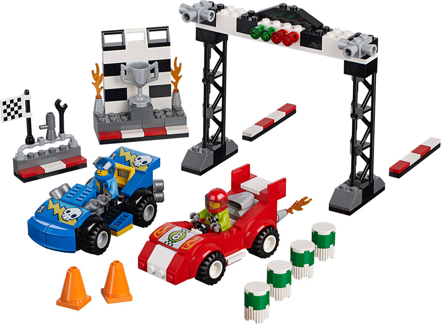 lego juniors race car rally fat brain toys. Black Bedroom Furniture Sets. Home Design Ideas