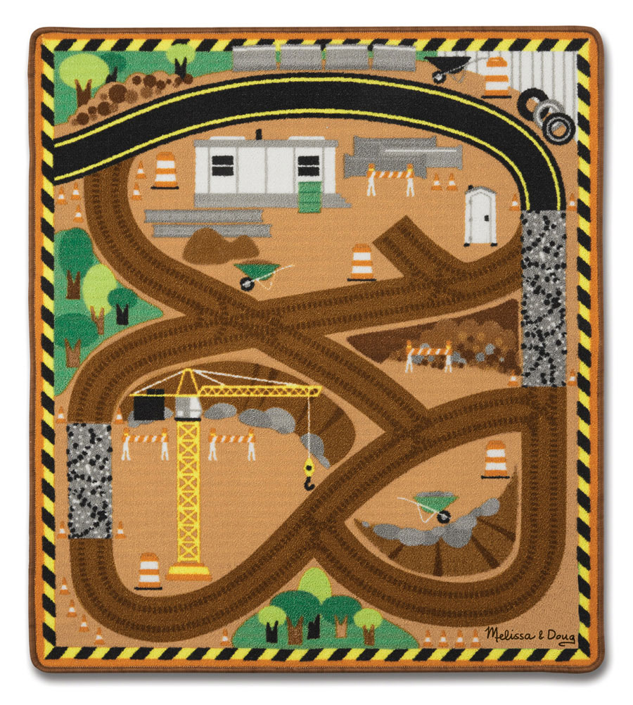 Round The Site Construction Truck Rug Fat Brain Toys