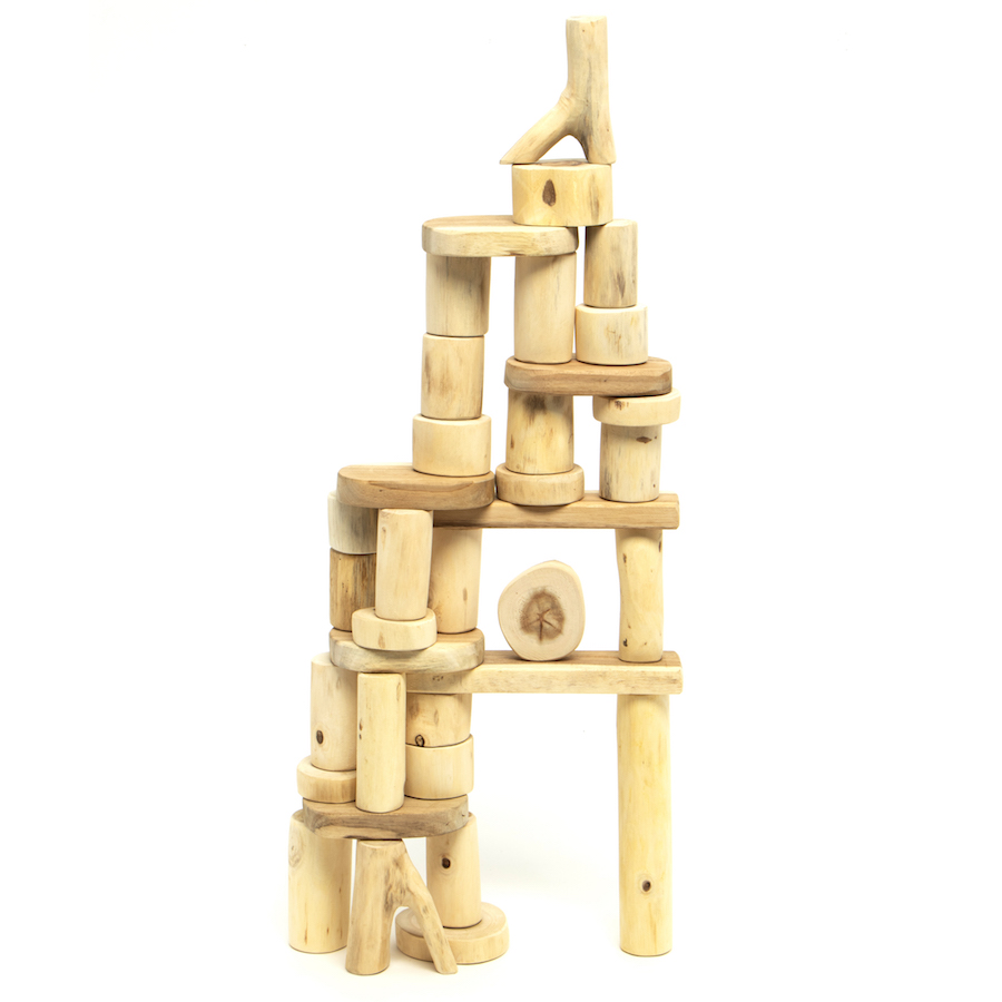 36 Piece Fall Winter Capsule Wardrobe: 36 Piece Barkless Tree Block Set In A Bag