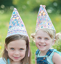 Color A Birthday Hat Set of 4