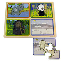 Green Start Wooden Puzzle - Animals At Home