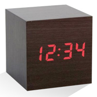 Alarm Clock Wood Cube - Dark