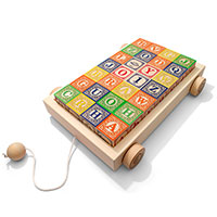 Uncle Goose Blocks - Uppercase Classic ABC Blocks with Wagon