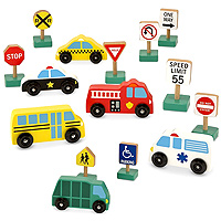 Wooden Vehicle and Traffic Signs