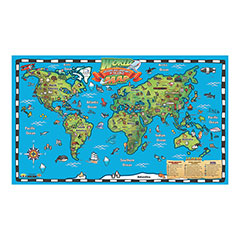 Kids world map wall chart with interactive map gumiabroncs Gallery