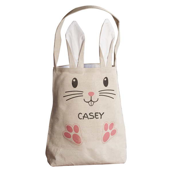 Personalized easter bag with ears white negle Choice Image